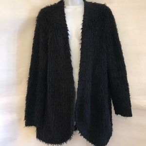 KENSIE-Black Shaggy Open Cardigan Sweater-Sz M
